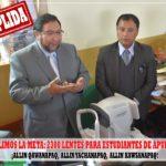 Cumplimos con la meta de entregar los 2300 lentes para estudiantes de Apurímac